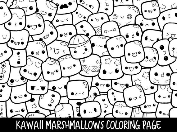 coloring pages of marshmallows | Marshmallows Doodle Coloring Page Printable Cute/Kawaii