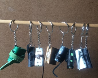 Book key chain Set 1, tiny book, leather key chain, library, leather book, key chain, recycled paper, recycled key chain