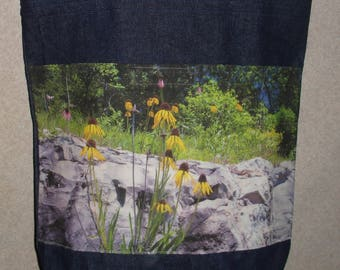 New Handmade Brown Eyed Susan Wildflower Ozark Original Photograph Photo Large Denim Tote Bag