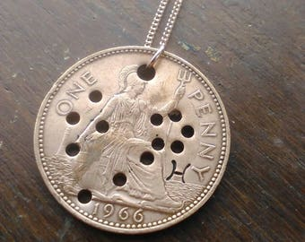 Pisces Constellation Necklace - Hand Stamped Coin Necklace - Penny Necklace - Pisces Necklace - February Birthday Gift - March Gift