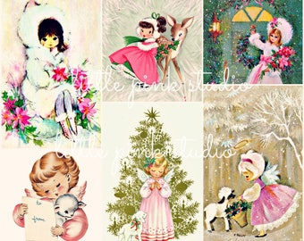 A Pretty in Pink Christmas, vintage collage sheet (printable, digital download)