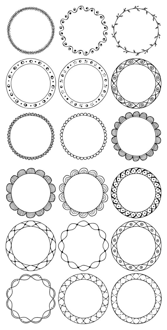 36 Hand Drawn Decorative Round Frames Circle Borders Floral