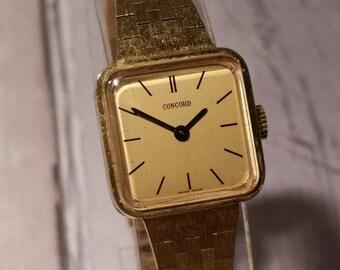 Concord Watch, Ladies Dress Watch, Rare Watch, Ladies Manual Wind Watch, Womens Mechanical Watch, Womens Concord Watch, Antique Watch, Gold.