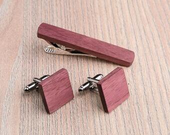 Wooden tie Clip Cufflinks Set Wedding Purpleheart Cufflinks. Wood Tie Clip Cufflinks Set. Mens Wood Cuff Links, Groomsmen, boyfriend gift.