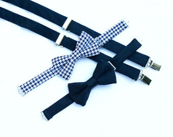 Navy Blue Suspenders, Navy Suspenders, Toddler Suspenders, Boys Navy Suspenders, Navy Bow Tie,  Boys Suspender Set, Ring Bearer Outfit,