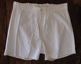 """Vintage 1940s 40s 1950s 50s french army military white cotton boxer shorts underwear pants 31"""" waist (3)"""