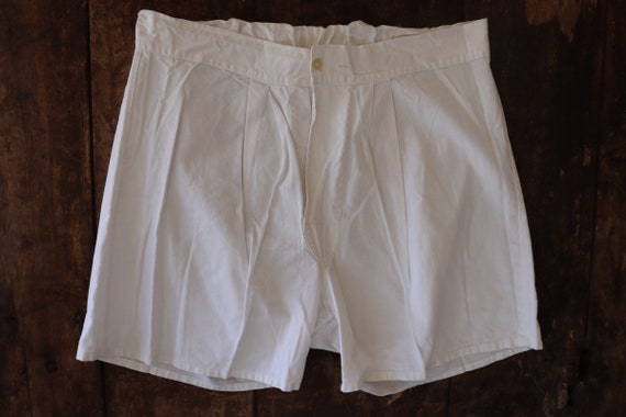 "Vintage 1940s 40s 1950s 50s french army military white cotton boxer shorts underwear pants 31"" waist (3)"