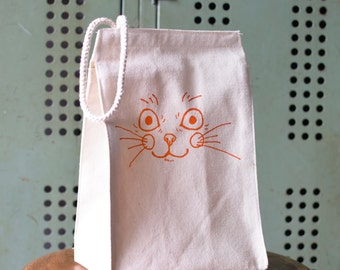Lunch bag - Lunch Box - Lunch Tote - Reusable Lunch Bag - Screen Printed Lunch Bag - Canvas Tote Bag - Lunch Sack - Kitten Tote Bag - Cat