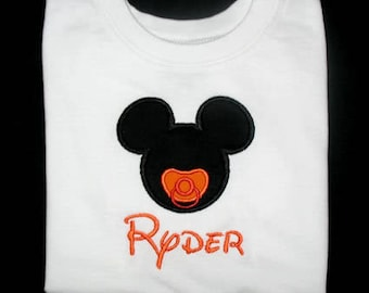 Custom Personalized Applique Halloween Pacifier MICKEY MOUSE and NAME Bodysuit or Shirt - Orange and Black