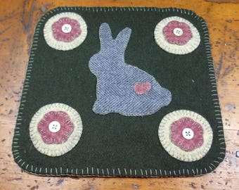 Sweet Bunny Penny Folk Art Penny Rug by Just Pennies by Linda - FINISHED Candle/Penny Mat