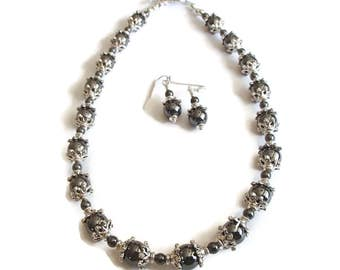 Hematite Choker Necklace and Earrings  Short Necklace Hematite Necklace and Earrings S59