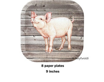 pig plates, farm birthday party paper plates, barn wedding, piglet, rustic tableware, farm animals, agricultural, rural, barn wood, barnwood