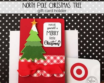 KIT Christmas Gift Card Holder, North Pole Tree, Teacher Appreciation, Gift Cards for Teens, Employee Gift Card Holder, Co-Workers Gift Card