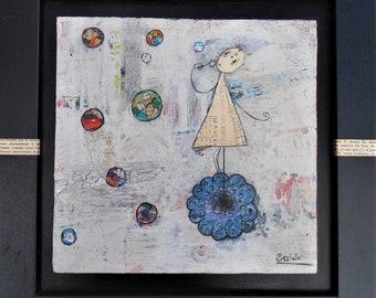Bubbles, square, framed, girl, flower, mixed media, collage, original artwork