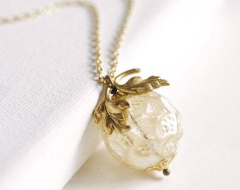 gold peach necklace . georgia peach necklace . antique pearl necklace . peach charm necklace