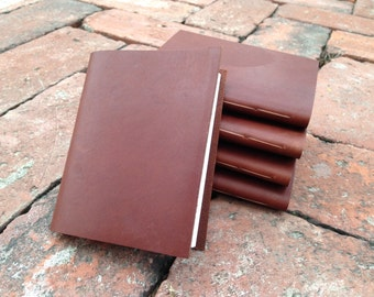 Stocking Stuffers Leather Pocket Notebook/Leather Journal Set of 5-  Hand Stitched, the Pascale