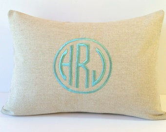 Circle Monogram Pillow Cover made to fit a 12 X 16 throw pillow insert. 2nd Anniversary Gift. Decorative Personalized Gift Bride and Groom