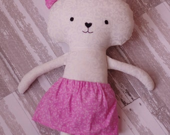 White and Pink Bunny in Pink Skirt