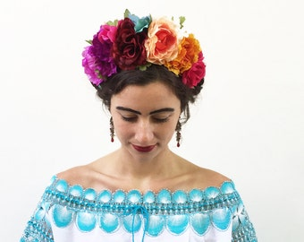 Mexican Flower Crown, Day of the Dead Headpiece, Frida Flower Crown, Floral Crown, Mexican Headband, Rainbow, Boho, Kahlo, Mexican Wedding