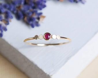 Ruby Ring, Gold Ring, Dainty Ring, Birthstone Ring, Stacking Rings, Gemstone Ring, 9ct Gold Ring, Solid Gold Ring, Gold Stacking Rings