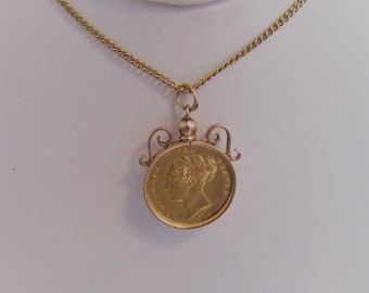 Victorian 22K Gold Sovereign Necklace Pendant. Young Queen Victoria Portrait. 22 Carat Coin Dated 1876 Inside Antique 9K Gold Pendant Mount