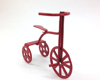 Miniature Red Tricycle Children's Bike for Dollhouse/Shadow Box Crafts