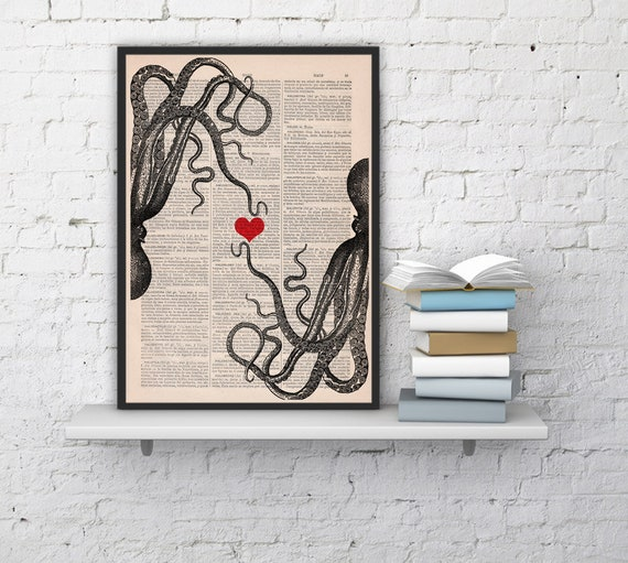 Octopus couple Red heart Printed on dictionary Book  Wall art house decor,octopus poster print,wall love art SEA067