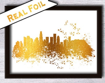 Los Angeles skyline print Los Angeles real foil poster Skyline foil print Los Angeles decor Home decoration Office wall decor Gift art G40