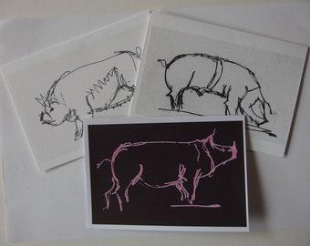 three original pig drawings