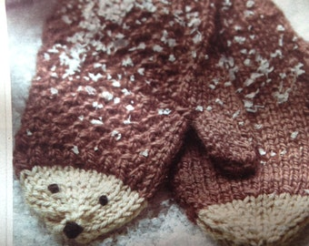 Childrens Hedgehog Mittens  Knitting Pattern