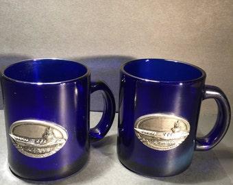 Set of two cobalt Blue Mugs, USS Ronald Reagan