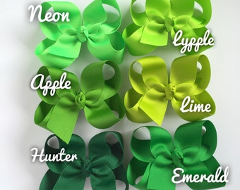 """Green Bow, Green Hairbow -- CHOOSE from 6 shades -- Hunter, Emerald, Apple, Lime, Lypple, Neon  -- 3"""" 4"""" 5"""" or 6"""" bow"""