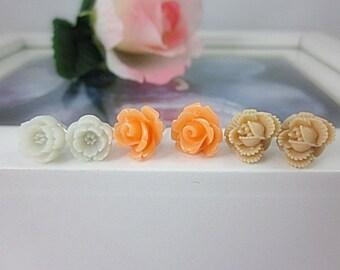 Set of 3 Flower Stud Earrings.  Ivory, Sand, Apricot flowers.  Gift for her.