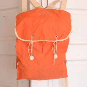 Vintage 70's Orange Light Weight Nylon Backpack Rucksack / ITEM420