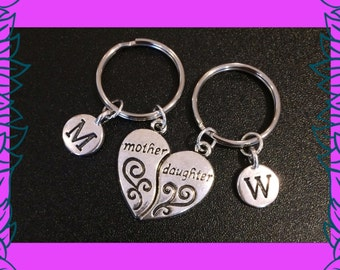 Mother daughter keychains, mother daughter gift, set of 2 personalised mum / mom daughter keychains, custom mother's day gift