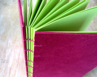 Journal Magenta 8x5.5 inches, apple green unlined cut pages, Ready to Ship