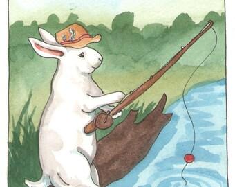 Original Watercolor Rabbit Painting - Fishin