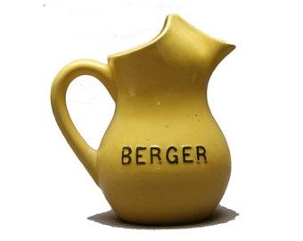 Ancienne carafe pastis BERGER française, Vintage Années 30, En céramique jaune, Pichet à eau publicitaire, Accessoire de bistrot anisette