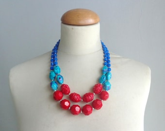 Chunky Double Strand Statement Necklace Turquoise, Blue, Anthropologie,  modern tribal, statement, royal blue red turquoise, summer necklace