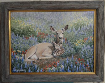 Original Doe and Fawn Painting