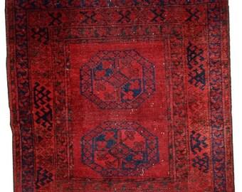 ON SALE 20% Off 3.6' X 3.7' ( 112cm X 115cm)  hand made antique Afghan Ersari rug 1900