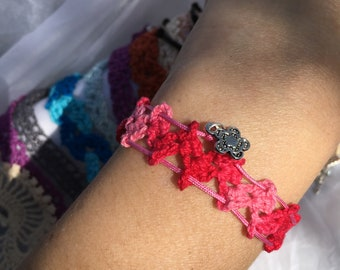 Bracelet in ombre pink thin cotton