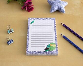 Bird Notepad - To Do List, Shopping List, Planner - parrot, purple, cute stationary