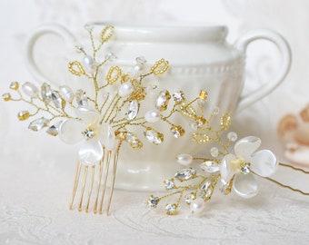 Wedding Hair Pins, Bridal Hair Piece, Pearl Hair Comb, Rhinestone Hair Comb, Bridal Headpiece, Freshwater Pearl Hair Pin, Bridesmaid Jewelry