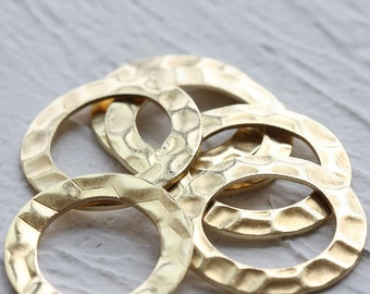 6 Pieces Raw Brass Textured Ring - Loop 27mm (3896C-D-507)