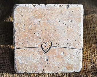 Heart Lines Coaster, Heart Coasters, Set of 4 Stone Coasters, Love Coasters, Tile Coasters, Absorbent Coasters, Personalized Coasters