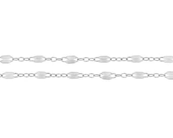 Dapped Long And Short Chain Sterling Silver 5.2x2.4mm - 5ft (8072-5)/1