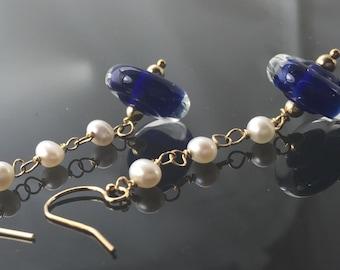 earrings- lampwork glass boro borosilicate beads - pearls - gold filled