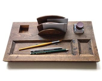 Vintage office desk organiser, 50s wooden pencil tray, utility holder, midcentury, tray