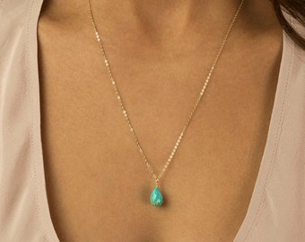 Simple Turquoise Necklace, Genuine Turquoise Briolette Drop on Dainty 14K Gold Fill or Sterling Silver Chain by Layered and Long LN604